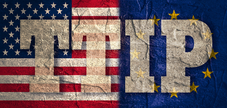 lobbyists: TTIP - Transatlantic Trade and Investment Partnership. Europe and USA association. Conncrete textured