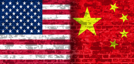 politic: Image relative to politic relationships between United States and China. National flags textured by brick wall. Stock Photo