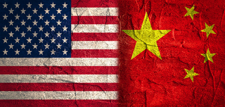 politic: Image relative to politic relationships between United States and China. National flags textured by concrete