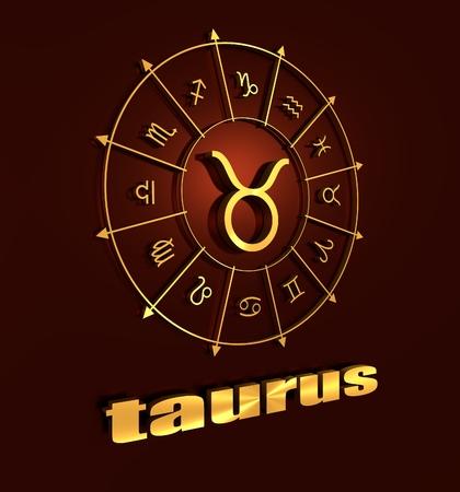 astrological: Bull astrology sign. Golden astrological symbol. 3D rendering