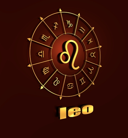 3d lion: lion astrology sign. Golden astrological symbol. 3D rendering