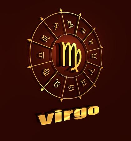 astrologer: Maiden astrology sign. Golden astrological symbol. 3D rendering