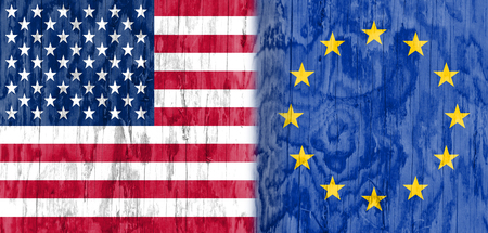 politic: Image relative to politic relationships between United States and European Union. National flags textured by wood.
