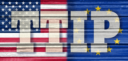 TTIP - Transatlantic Trade and Investment Partnership. Europe and USA association. Wood textured Stock Photo