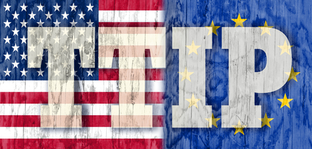 lobbyists: TTIP - Transatlantic Trade and Investment Partnership. Europe and USA association. Wood textured Stock Photo