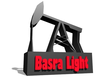 basra: Oil pump and Basra crude oil name. Energy and power relative backdrop. 3D rendering Stock Photo