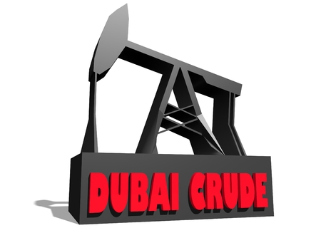 crude: Oil pump and Dubai crude oil name. Energy and power relative backdrop. 3D rendering Stock Photo