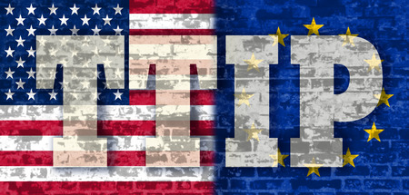 lobbyists: TTIP - Transatlantic Trade and Investment Partnership. Europe and USA association. Brick wall textured