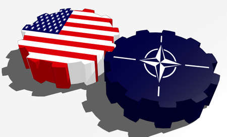nato: Image relative to politic and economic cooperation between USA and NATO. National flags on connected gears. Teamwork concept. 3D rendering