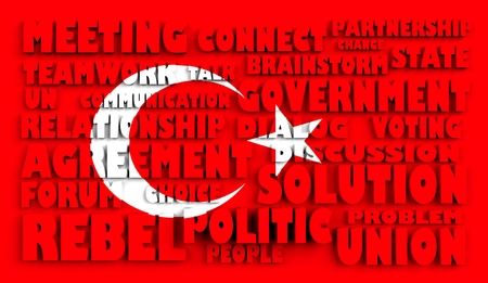 area of conflict: Image relative to politic situation in Turkey. National flag relief words. 3d rendering