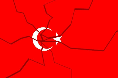 politic: Image relative to politic situation in Turkey. Broken national flag. Illustration