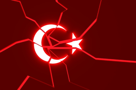 politic: Image relative to politic situation in Turkey. Broken national flag. 3d rendering