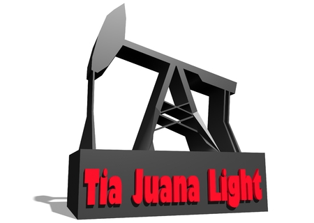 crude: Oil pump and Tia Juana Light crude oil name. Energy and power relative backdrop. 3D rendering Stock Photo