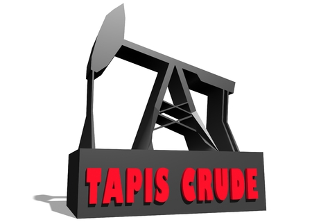 tapis: Oil pump and Tapis crude oil name. Energy and power relative backdrop. 3D rendering Stock Photo