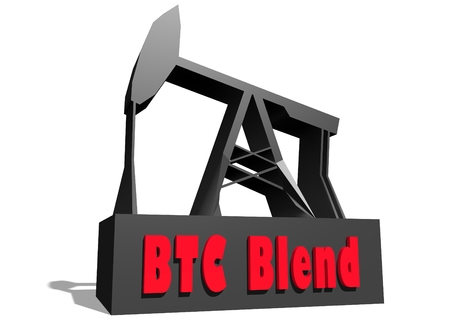 crude: Oil pump and BTC Blend crude oil name. Energy and power relative backdrop. 3D rendering
