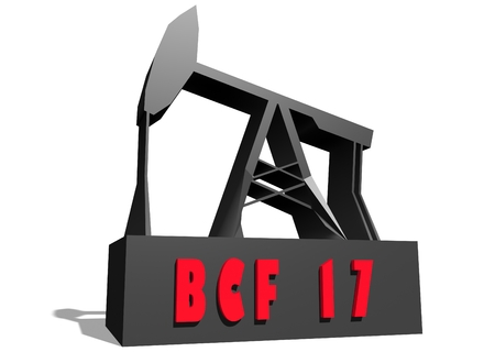 crude: Oil pump and BCF 17 crude oil name. Energy and power relative backdrop. 3D rendering Stock Photo