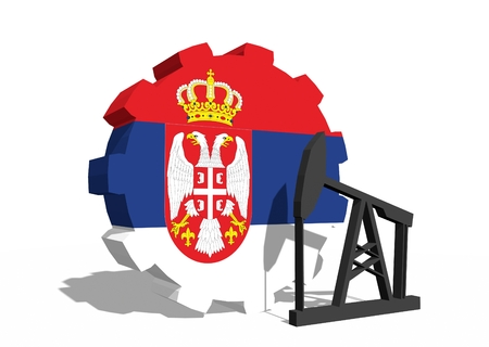 3d rendering wheel: Cog wheel with oil pump textured by Serbia flag. Heavy and mining industry concept. 3D rendering