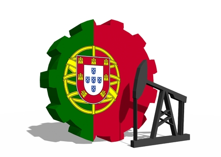 3d rendering wheel: Cog wheel with oil pump textured by Portugal flag. Heavy and mining industry concept. 3D rendering Stock Photo