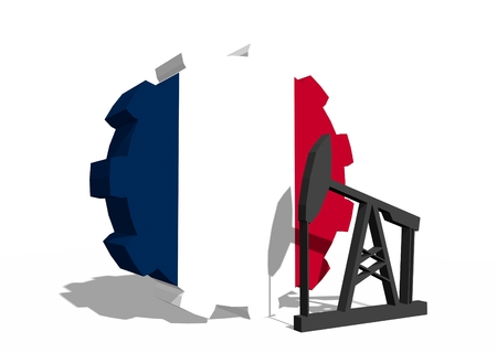 3d rendering wheel: Cog wheel with oil pump textured by France flag. Heavy and mining industry concept. 3D rendering