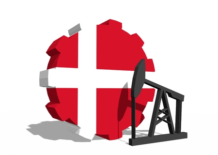 3d rendering wheel: Cog wheel with oil pump textured by Denmark flag. Heavy and mining industry concept. 3D rendering