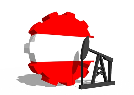 3d rendering wheel: Cog wheel with oil pump textured by Austria flag. Heavy and mining industry concept. 3D rendering