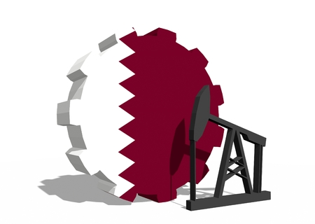 3d rendering wheel: Cog wheel with oil pump textured by Qatar flag. Heavy and mining industry concept. 3D rendering