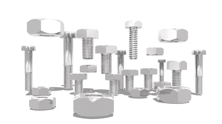 3d  bolt: Silver nuts and bolt kit. Service and repair relative image. 3D rendering