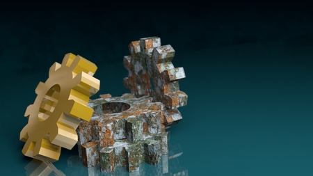manufacturing equipment: Industry theme relative abstract background concept. Gears set. Rusty and golden. 3D rendering