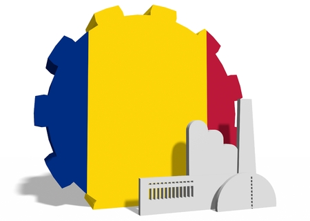Romania industry relative concept. Factory icon and gear textured by national flag. 3D rendering 免版税图像