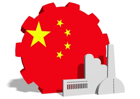 China industry relative concept. Factory icon and gear textured by national flag. 3D rendering Banco de Imagens