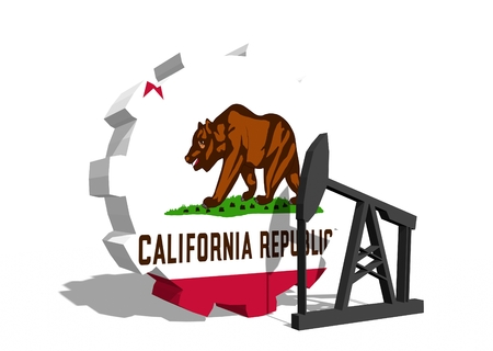 california flag: Cog wheel with oil pump textured by California flag. Heavy and mining industry concept. 3D rendering Stock Photo