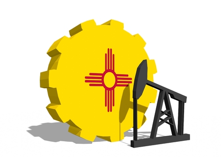 3d rendering wheel: Cog wheel with oil pump textured by New Mexico flag. Heavy and mining industry concept. 3D rendering Stock Photo