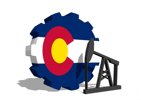 colorado flag: Cog wheel with oil pump textured by Colorado flag. Heavy and mining industry concept. 3D rendering