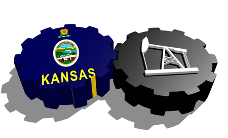 3d rendering wheel: Cog wheel with oil pump textured by Kansas flag. Heavy and mining industry concept. 3D rendering Stock Photo