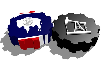 3d rendering wheel: Cog wheel with oil pump textured by Wyoming flag. Heavy and mining industry concept. 3D rendering