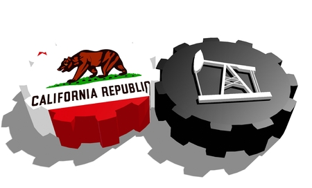 3d rendering wheel: Cog wheel with oil pump textured by California flag. Heavy and mining industry concept. 3D rendering Stock Photo