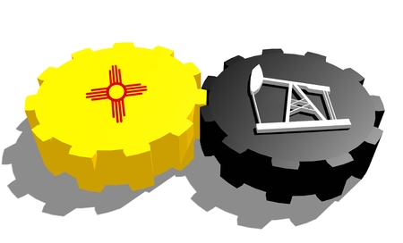 Cog wheel with oil pump textured by New Mexico flag. Heavy and mining industry concept. 3D rendering Stock Photo