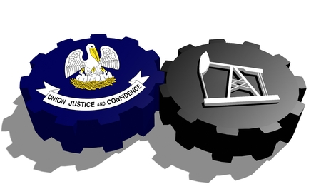 louisiana flag: Cog wheel with oil pump textured by Louisiana flag. Heavy and mining industry concept. 3D rendering Stock Photo