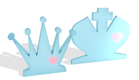 romance strategies: Chess figures. King and Queen. Family metaphor. Love theme. 3D rendering.