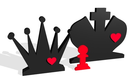 romance strategies: Chess figures. King and Queen with pawn child. Family metaphor. Love theme. 3D rendering.