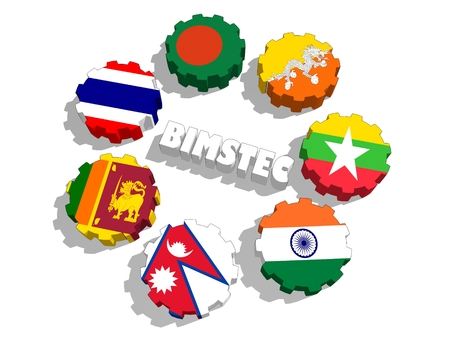 Bay of Bengal Initiative for Multi-Sectoral Technical and Economic Cooperation. Politic and economic union members flags on cog wheels. Global teamwork. 3D rendering