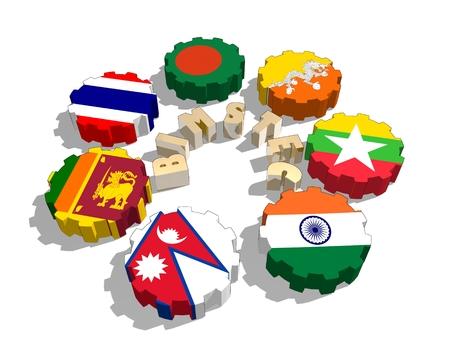 Bahía de Bengala para la Iniciativa Multisectorial Técnica y Cooperación Económica. miembros del sindicato políticos y económicos banderas en las ruedas dentadas. trabajo en equipo global. representación 3D