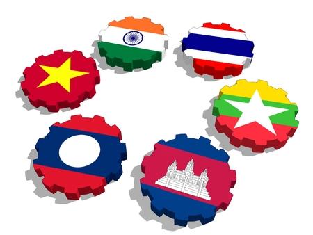 Cooperación Mekong Ganga. Banderas de miembros de la unión política y económica en ruedas dentadas. Trabajo en equipo global. Representación 3D
