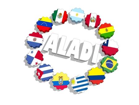 banderas america: Asociación Latinoamericana de Integración de los sindicalistas banderas en los engranajes. representación 3D
