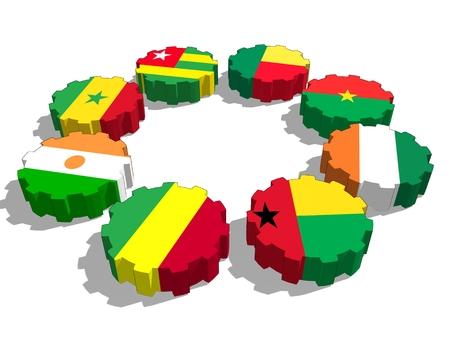 Unión Económica y Monetaria de África Occidental. Banderas de miembros de la unión política y económica en ruedas dentadas. Trabajo en equipo global. Representación 3D
