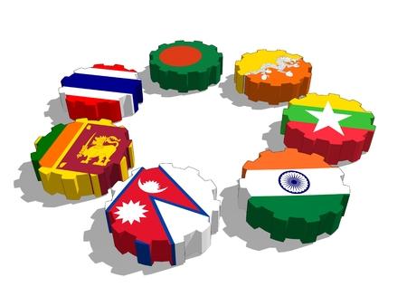 Bahía de Bengala para la Iniciativa Multisectorial Técnica y Cooperación Económica. miembros del sindicato políticos y económicos banderas en las ruedas dentadas. trabajo en equipo global. representación 3D Foto de archivo
