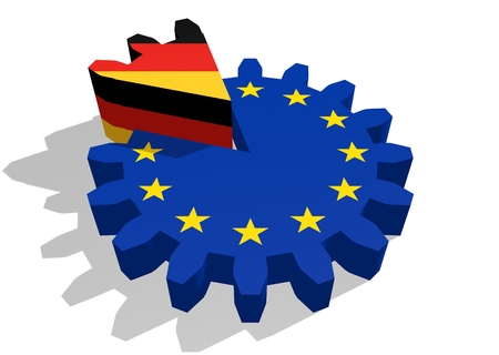 cog wheel: European union flag on gear and Germany as part of cog wheel. 3D rendering