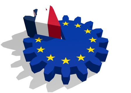 3d rendering wheel: European union flag on gear and France as part of cog wheel. 3D rendering