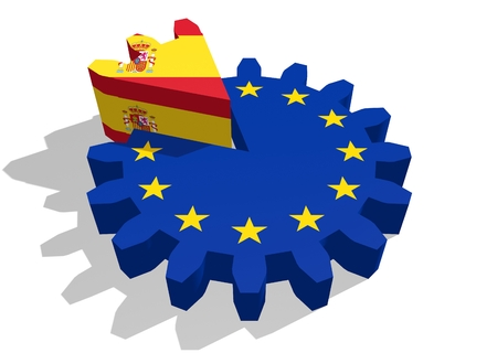 cog wheel: European union flag on gear and Spain as part of cog wheel. 3D rendering