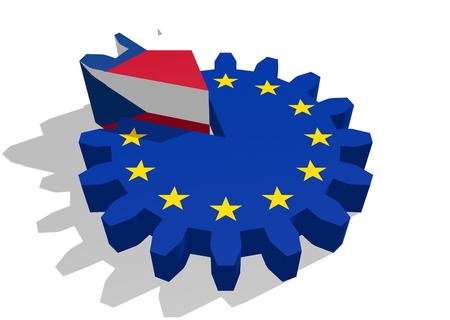 cog wheel: European union flag on gear and Czech as part of cog wheel. 3D rendering